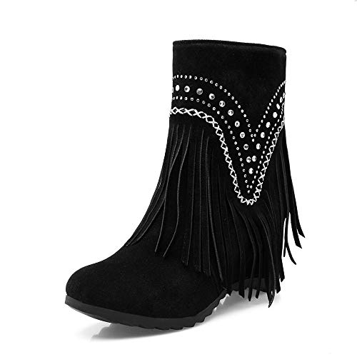 UFACE Frauen Round Toe Square Heel Quaste Schuhe Volltonfarbe Slip-On Suede Snow Boots