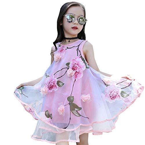 Alwayswin Sommer Baby Mädchen Blume Prinzessin Kleid Festzug Hochzeit Abendkleid Kinder Süß Mode 3D Blume Organza Weste Flauschiges Kleid Festival Ärmellos A-Linien Kleid -