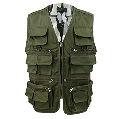 Sharplace Fly Fishing Vest Men's Multifunction Pockets Waistcoat Jacket Breathable Quick Dry Travels Sports Outdoor Vest XL/2XL/3XL Army Green from Sharplace