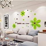 Wandaufkleber tapete DIY TV hintergrund wand kreative acryl stereo wandaufkleber 150 cm * 90 cm, hellgrüne blütenblätter
