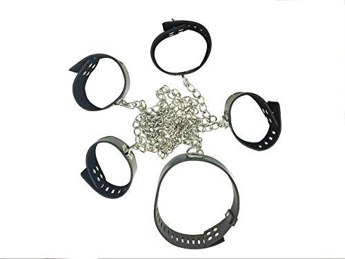 5 PCS verstellbare Metall Kette Leder Handschellen + Knöchel Armband + Hals Strap Sexy Bett Bandage Spielzeug für Erwachsene Paare (Schwarz) -