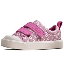 Clarks Girls' City Bright T Low-Top Sneakers, Pink (Pink Floral Pink Floral), 4 UK