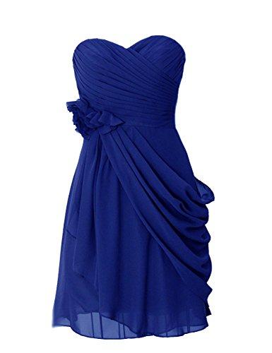 Dresstells, robe courte de demoiselle d'honneur mousseline avec fleurs Bleu Saphir