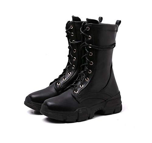 Donne Martin Stivale di Spessore Inferiore Caviglia Bootie Round Toe Cross Ctraps Knight Boot Moto Stivali EU Dimensioni 34-40,Black,35EU