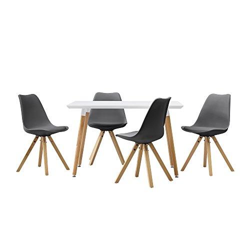[en.casa] Esstisch mit 4 Stühlen grau Gepolstert 120x70cm Kunstleder Esszimmer Essgruppe Küche
