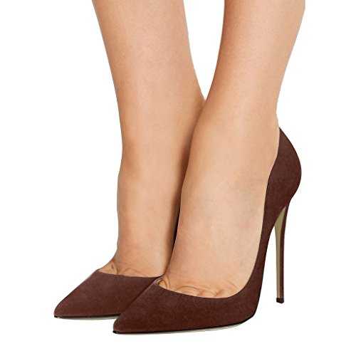 Guoar - Scarpe chiuse Donna (Braun Samt)