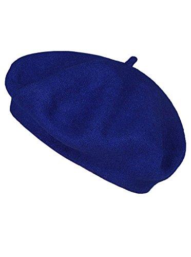 Zwillingsherz Baskenmütze aus 100% Wolle - Hochwertige Sommer Barette für Damen Herren Mädchen Jungen - Hat - Unisex - Weich Elegante Strick-Mütze Perfekt für Jeden Anlass Blau