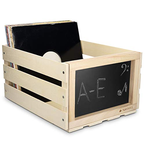 Navaris Wooden Record Storage Crate - Vinyl Album Stackable Retro Rustic Holder Box Wood Case with Chalkboard Sign Board for 66 LP Records - Natural
