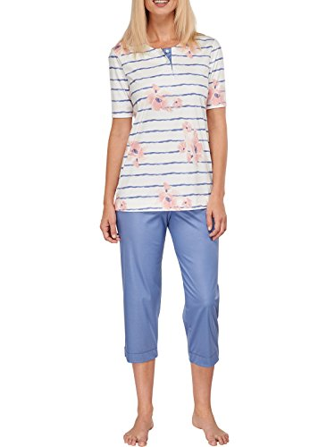 Damen-kurzarm-baumwolle Interlock (Schiesser Damen Schlafanzug Pyjama 3/4 Lang - Kurzarm 1/2 - Dolce - 151933, Größe Damen:46;Farbe:naturweiss)