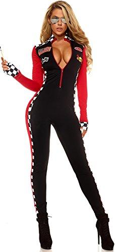 Aimerfeel Damen sexy rote und schwarze Rennwagen und Drag-Rennen karierter Overall Abendkleid-Ausstattungs-Größe - Rennwagen Kostüm