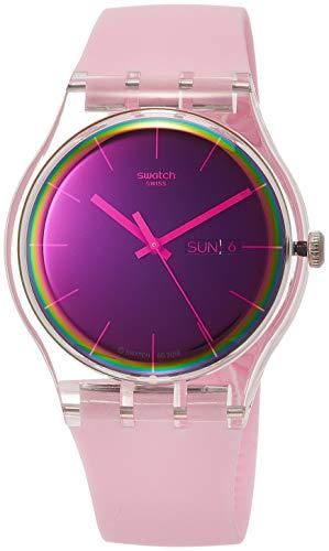 Swatch Damen Analog Quarz Uhr mit Silikon Armband SUOK710 - Swatch Uhren Von