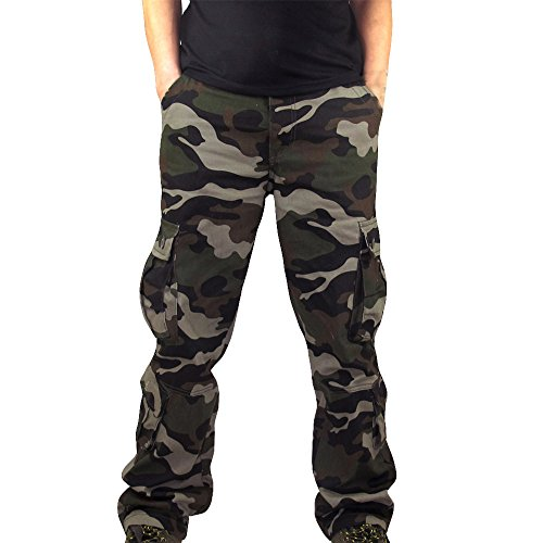 Tarnhose Herren, UFODB Männer Trousers Cargo Hose Camouflage Multi-Pocket Rangerhose Jägerhose Outdoorhose Freizeithose Anglerhose Berghose Funktionshose Trekkinghose Sporthose
