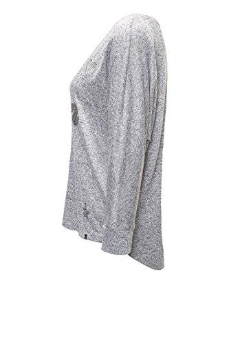 Key Largo Damen Langarmshirt Longsleeve Oversize Look Grey Melange