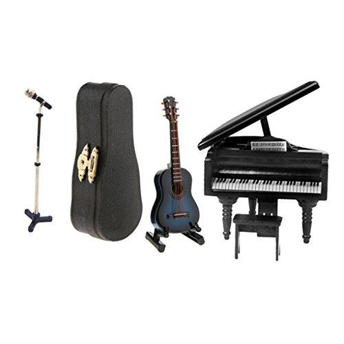 gen¨¦rico Sharplace 1/12 Instrumentos de Música Guitarra de Madera y Piano con Micrófono en Miniaturas de Casa de Muñeca