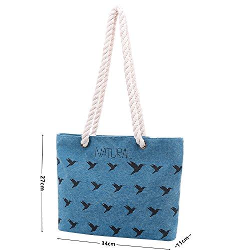 PB-SOAR Damen Mädchen Vintage Canvas Strandtasche Schultertasche Handtasche Shopper Einkaufstasche Freizeittasche, Tasche mit Vogel Muster (Blau) Blau