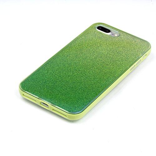 iPhone 8 Plus Hülle, Voguecase Silikon Schutzhülle / Case / Cover / Hülle / TPU Gel Skin für Apple iPhone 8 Plus 5.5(Transparente Grenze/Rose) + Gratis Universal Eingabestift Blauer Spiegel - Grün