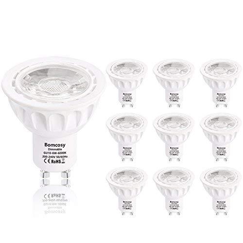 Bomcosy Regulable 6W GU10 LED Bombilla Blanco cálido 3000K Equivalente a 50...