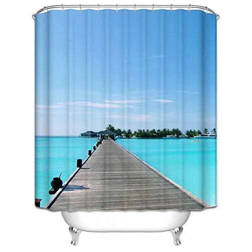 AmDxD Duschvorhang Polyester Badewannenvorhang Brücke Design Bunt Badewanne Vorhang 150x200CM