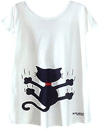 Azbro Mujer Camiseta Tee Pullover Dibujo Estampado Mangas Cortas