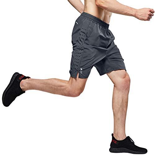 """LOHOTEK Hombres 7"""" Pantalones Cortos para Atléticos - Pantalones Cortos de Gimnasio de Secado Rápido y Ligeros para Entrenamiento de Baloncesto de Tenis al Aire Libre (Gris, XL)"""