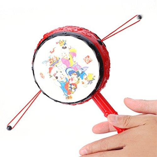 ODN Rassel Trommel Chinesische runden Kleine Rassel Hand schuetteln Spielzeug Fuer Kinder Lernspielzeug Baby Spielzeug