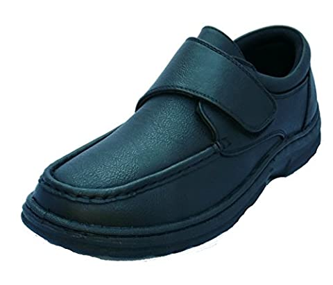 MENS VELCRO BAR STRAP EASY CLOSE WIDE FIT DRESS SHOE WITH GEL PAD INSOLE BLACK 10