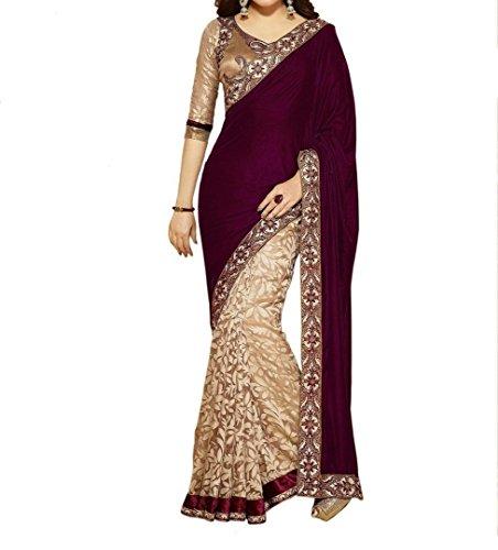 Kesari King Women\'s Velvet & Net Saree With Blouse Piece (Maroonvelvet2_Maroon)