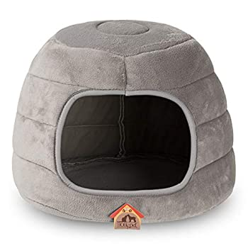 Hollypet Self-Warming Confortable Triangle pour Chat Cave Maison pour Animal Domestique Tente pour Chatons Chiens de Petite Taille, Multi-Use Cat Cave, Gris foncé