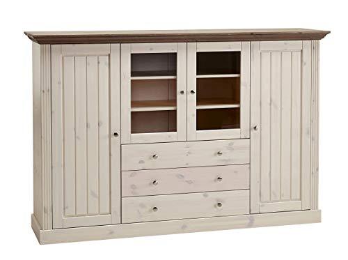 Steens Monaco Highboard, 2 große, 2 kleine Türen und 3-Schubladen, 186 x 122 x 46 cm (B/H/T), Kiefer massiv, weiß grau