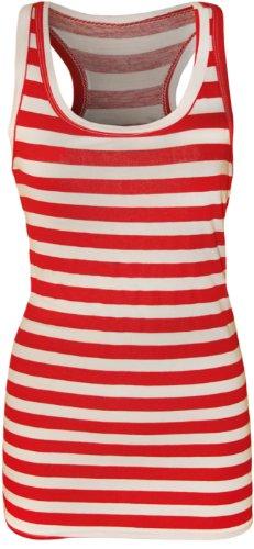 WearAll - Rayures imprimé débardeur top long sans manches - Hauts - Femmes - Rouge - 40-42
