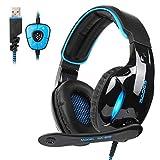 SADES SA902 cuffie Gaming Headset Auricolare per gioco USB 7.1 Audio surround stereo surround su cuffie per giochi auricolari Luce USB cablata Con controllo volume del Mic per PC / Laptop (nero e blu)