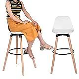 ILFALZT Barhocker 2er Set Holz Barstühle Tresenhocker mit Rückenlehne und Fußstütze für Küchen Hausbar (Weiß, 2er Set 70 cm)