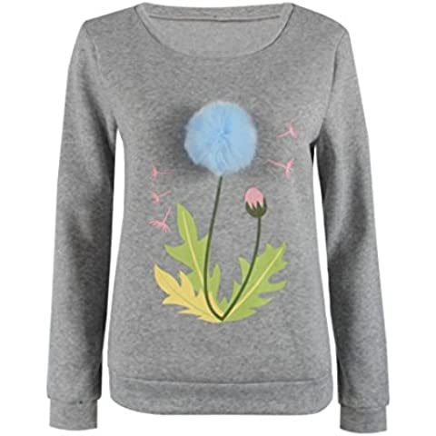 Baonoop_Mujeres Sudadera Plush Ball Long Sleeve Casual Blusa Pullovers