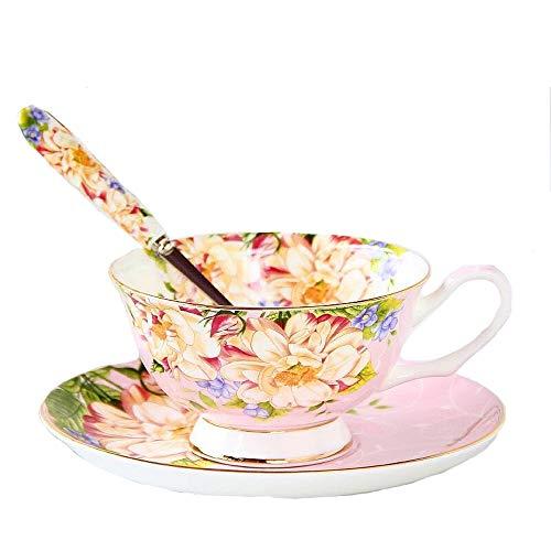 SudaTek Set de Regalo Vintage Fine Bone China Taza de té Cuchara y platillo Conjunto Dorado Fina de Acero Mesa de Comedor y decoración Pink Rose