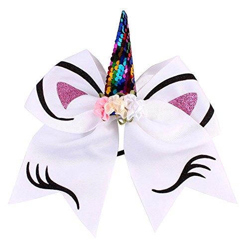 Amorar Bogen Haar Krawatten, Einhorn Cheer Hair Bows Pferdeschwanz Inhaber mit Gummiband Einhorn Haarschmuck für Frauen Mädchen,EINWEG Verpackung (Thread-inhaber)