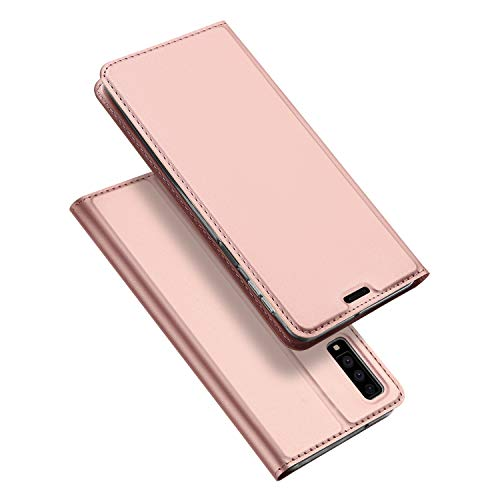 DUX DUCIS Hülle für Samsung Galaxy A7 2018,Ultra Dünn Flip Folio Handyhülle mit [Magnet,Standfunktion,1 Kartenfach] (Skin Pro Series) (Rose Golden)