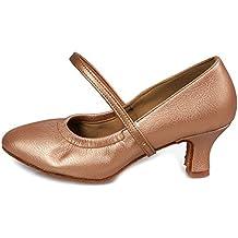 YKXLM Mujeres&Niña Zapatos latinos de baile Zapatillas de baile de salón Salsa Tango Performance Calzado de Danza,Modelo ES5003