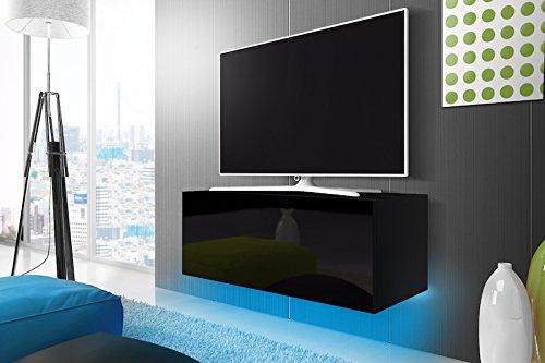 Lana - mobile porta tv sospeso a parete (100 cm, nero opaco / nero lucido con luci led blu)