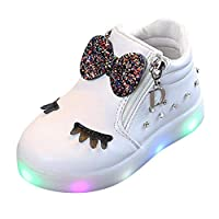 HOMEBABY Toddler Unisex Kids Light Up Trainers Infant Baby Girls Boy Casual Crystal Bowknot Sport Running LED Luminous Shoes Sneakers Halloween Gift