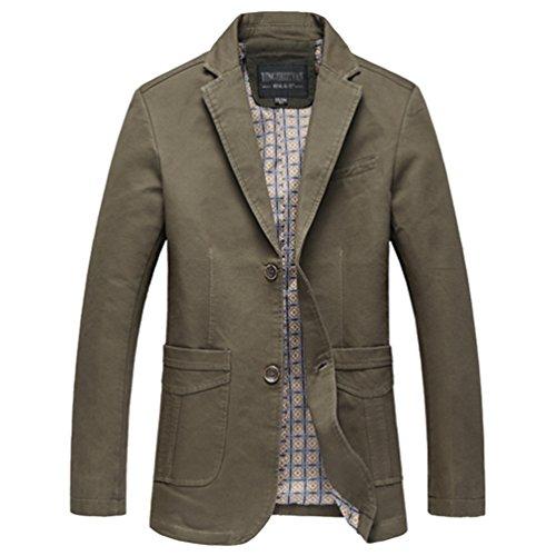 NiSeng Herren Blazer Sakko Freizeit Slim Fit Freizeit Einreihig Anzug Jacke Mantel Armee 3XL (Blazer Baumwoll-tasche Klappe Mit)