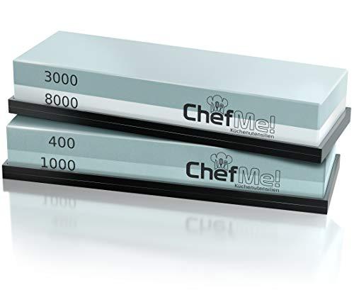 ChefMe! Schleifstein Messerschärfer Set mit deutscher Anleitung 400/1000/3000/8000 - Wetzstein zum Messer schärfen mit rutschfester Unterlage