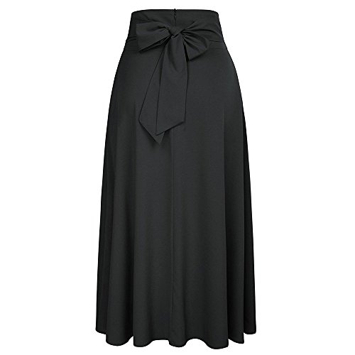 QUINTRA Women High Waist Pleated A Line Long Skirt Front Slit Belted Maxi Skirt