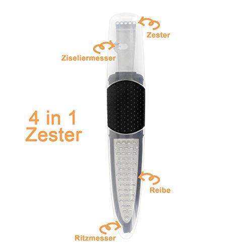 Luxpresso Zester Reibe, Zester Fadenschneider, Ziseliermesser, Ritzmesser Zest-Master 4 in 1