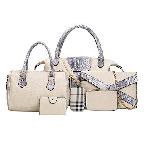 Kairuun Frauen PU Leder Handtaschen Set 6 Teiliges Handtaschenset Schulter Crossbody Tasche Handgelenktasche
