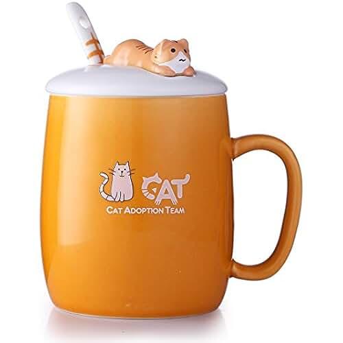 figuras kawaii porcelana fria Beyonda FMGYBL347 Taza de café linda del gato, gato animal precioso Taza linda de los amantes de la taza de la porcelana de cerámica con la cuchara para el café de la leche (naranja)