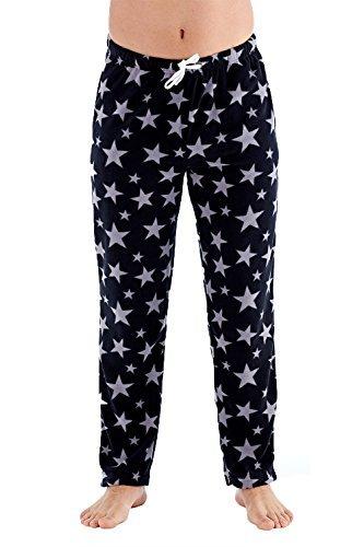 Harvey James Herren weiche kariert Fleece Pyjama Freizeithose sterneaufdruck - schwarz