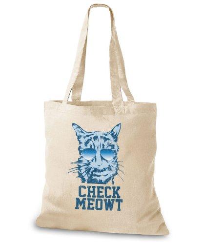 StyloBags Jutebeutel / Tasche Check Meowt Natur
