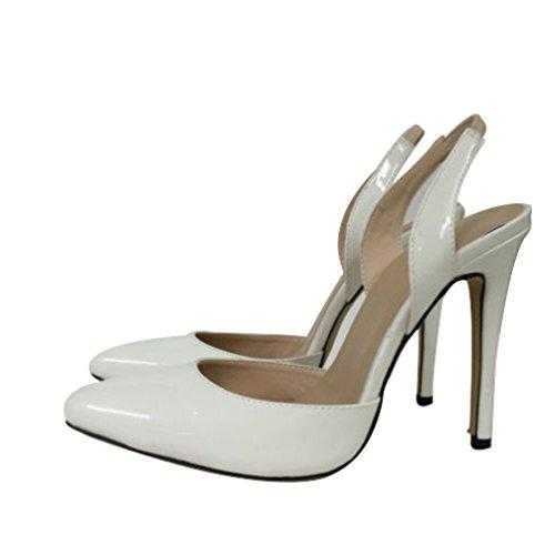 HooH Femmes Pointu Slingback Sandales Stiletto Travail Escarpins Blanc
