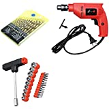 shopper 52 Powerful Drill Machine with 13 Pieces Drill Bit Set and 21 Pieces Toolkit Screwdriver Set Combo