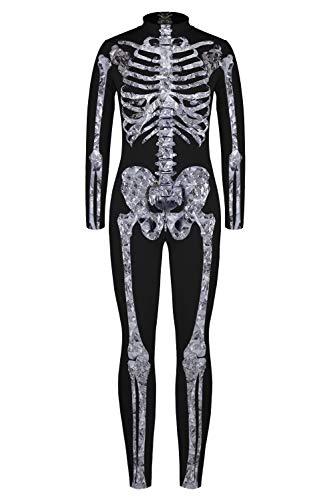 n Halloween Unheimlich Gespenstisc Skelett Jumpsuit Ganzkörperanzug Karneval Verkleidungsparty Cosplay Kostüm Overalls BJQ-001 L ()